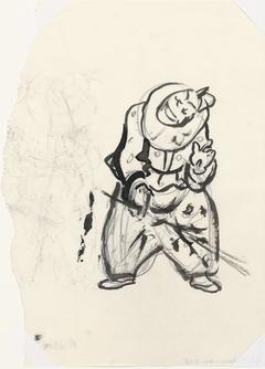Pierrot met zweep (schets)