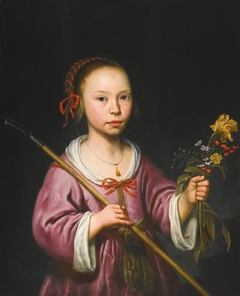 Portrait of a girl with a sprig of flowers