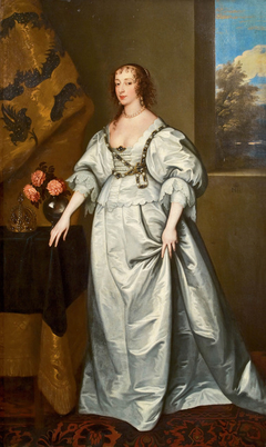 Portrait of Queen Henrietta Maria standing full-length in a white satin gown