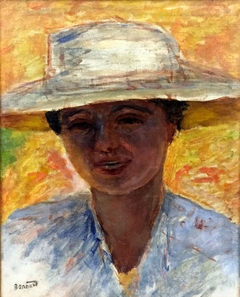 Portrait of woman in large hat