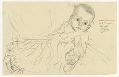 Portret van vijf maanden oude baby Annie Jurriaanse