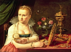 Possibly self-portrait of Clara Peeters, seated at a tabel with precious objects, ca. 1618