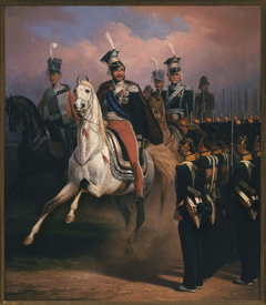 Prince Józef Poniatowski before the front of grenadiers