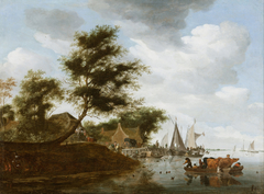 River landscape with ferry