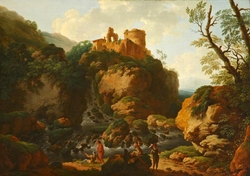 Rocky Waterfall with a Ruined Castle