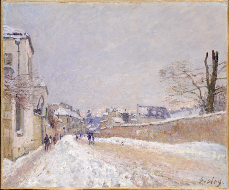 Rue Eugène Moussoir at Moret: Winter
