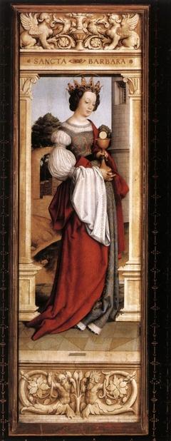 Saint Barbara (recto); Angel of the Annunciation (verso)