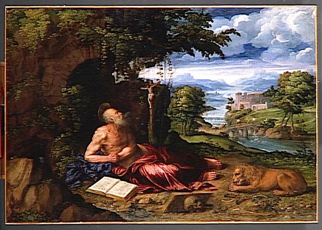 Image result for St. Jerome in a landscape Battista Dossi