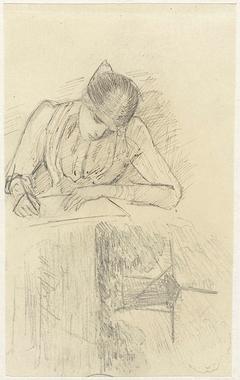 Schrijvende vrouw en molen aan het water