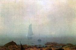 Sea beach in the fog