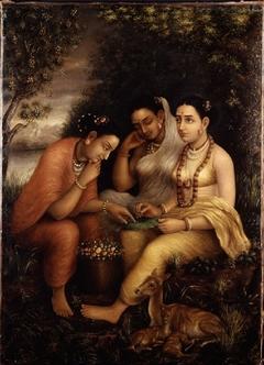 Shakuntala writing a love letter on a lotus leaf