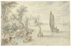 Stad aan een brede rivier
