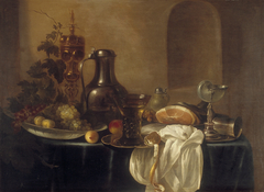 Still life with gilded silver bowl, nautilus shell cup and tin can