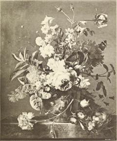 Still Life with Hyacinths and Roses in a Terracotta Vase on a Marble Table