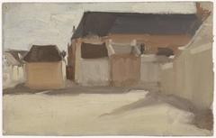 Studie van een dorpspleintje met gebouwen