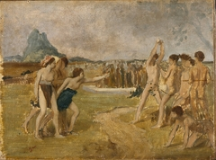"""Study for """"Young Spartan Girls Challenging Boys"""""""