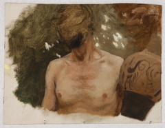 """Study of the Bust of a Naked Youth with a Vase – Sketch to the Painting """"Vase-Seller"""""""