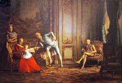 Szene am Kopenhagener Hof mit Struensee, Caroline Mathilde und Christian VII.