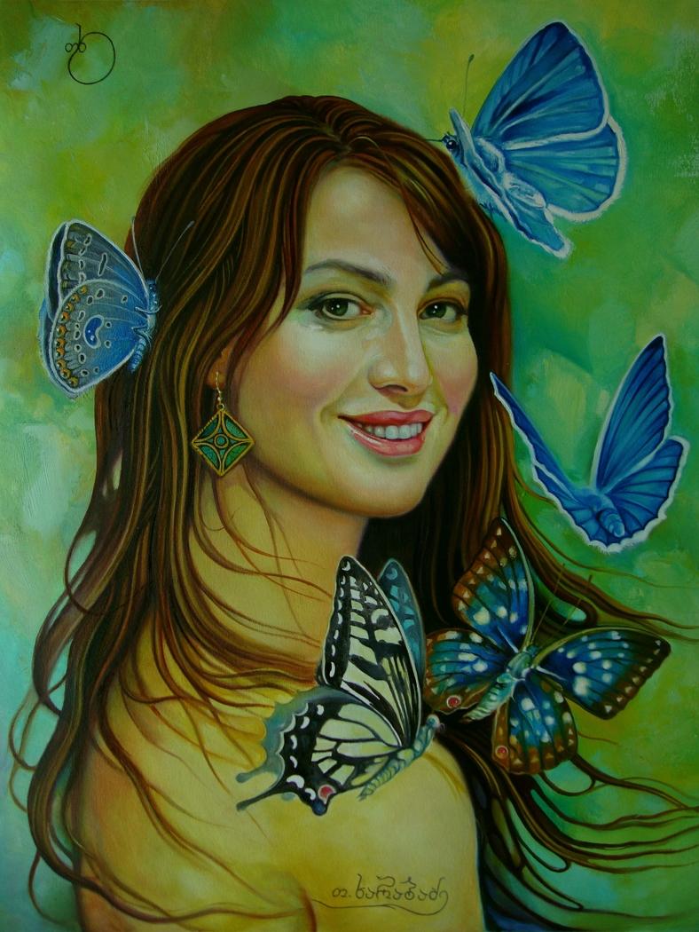 Teimuraz Kharabadze. woman and butterflies.
