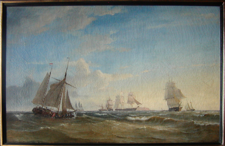 The Danish blockading squadron at the mouth of the Elbe during the summer of 1849.