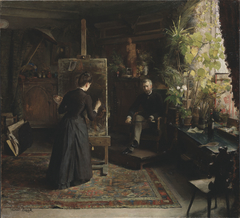 The Danish portrait painter Bertha Wegmann at work