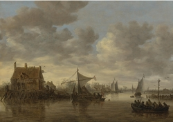 The Oude Wachthuis on the Kil near Dordrecht with small ships and a ferry