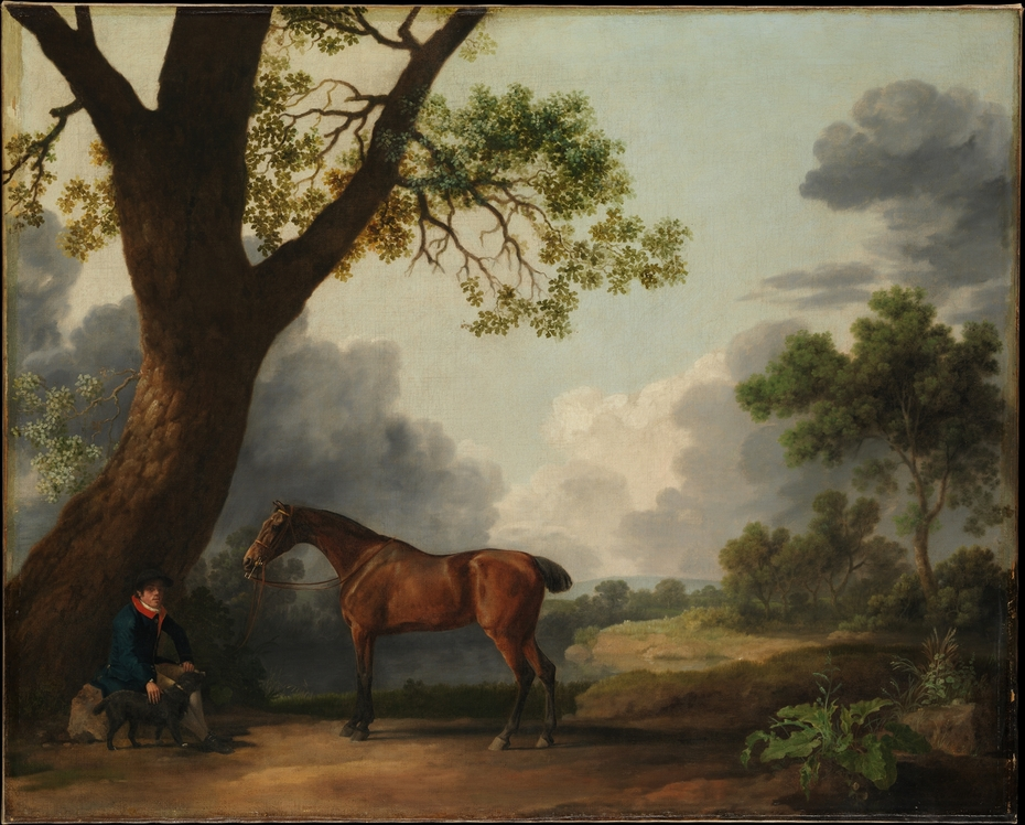 The Third Duke of Dorset's Hunter with a Groom and a Dog