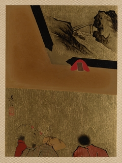 Three Men Looking at Framed Lacquer Drawing
