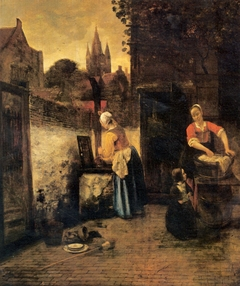 Two Women and a Child in a Courtyard