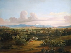 View of the Valley of Mexico with Volcanoes and the Texcoco Lake