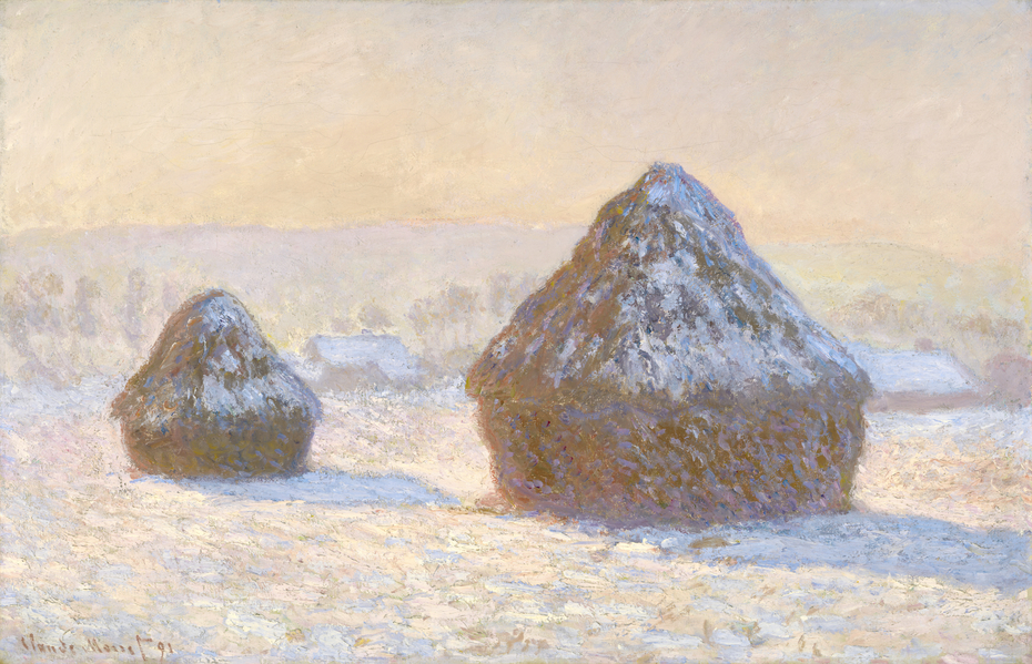 Wheatstacks, Snow Effect, Morning (Meules, Effet de Neige, Le Matin)