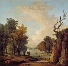 Wooded river landscape with a traveller, a barking dog, a horseman and women washing at an islet