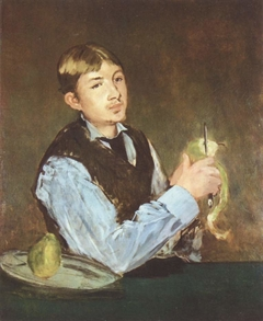 Young Boy Peeling a Pear