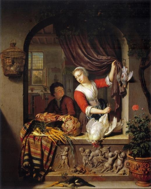 Young woman in a window holding a dead bird, 1715