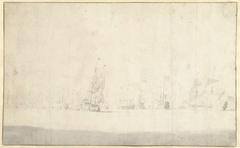 Zeegezicht met de Nederlandse vloot