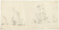 Zeegezicht met schepen, jachten en sloepen