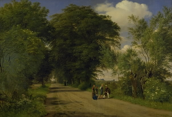 A Country Road near Vognserup Manor, Zealand. The Painter J.Th. Lundbye Sketching by the Roadside