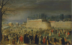 A winter carnival with figures on the ice before the Kipdorppoort Bastion in Antwerp