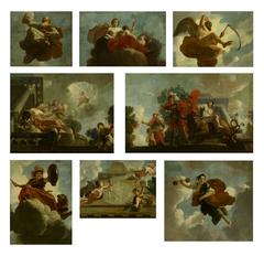 Acht allegorische voorstellingen afkomstig van het plafond in het Leprozenhuis