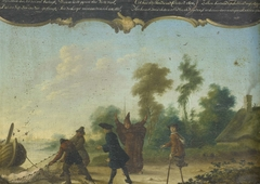 Allegory of Free Love: A Gentleman, a Monk and a Beggar Speaking with two Fishermen who Have Caught a Woman in a Net