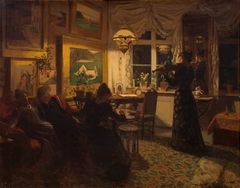 An evening with a friend. By lamplight