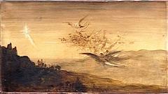 Angels following the Three Magi