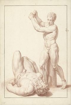 Beeld van een jongen met opgeheven armen bij een liggende man met baard