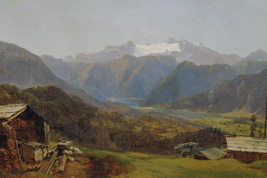 Blick von der Hütteneckalm auf den Hallstätter See und den Dachstein