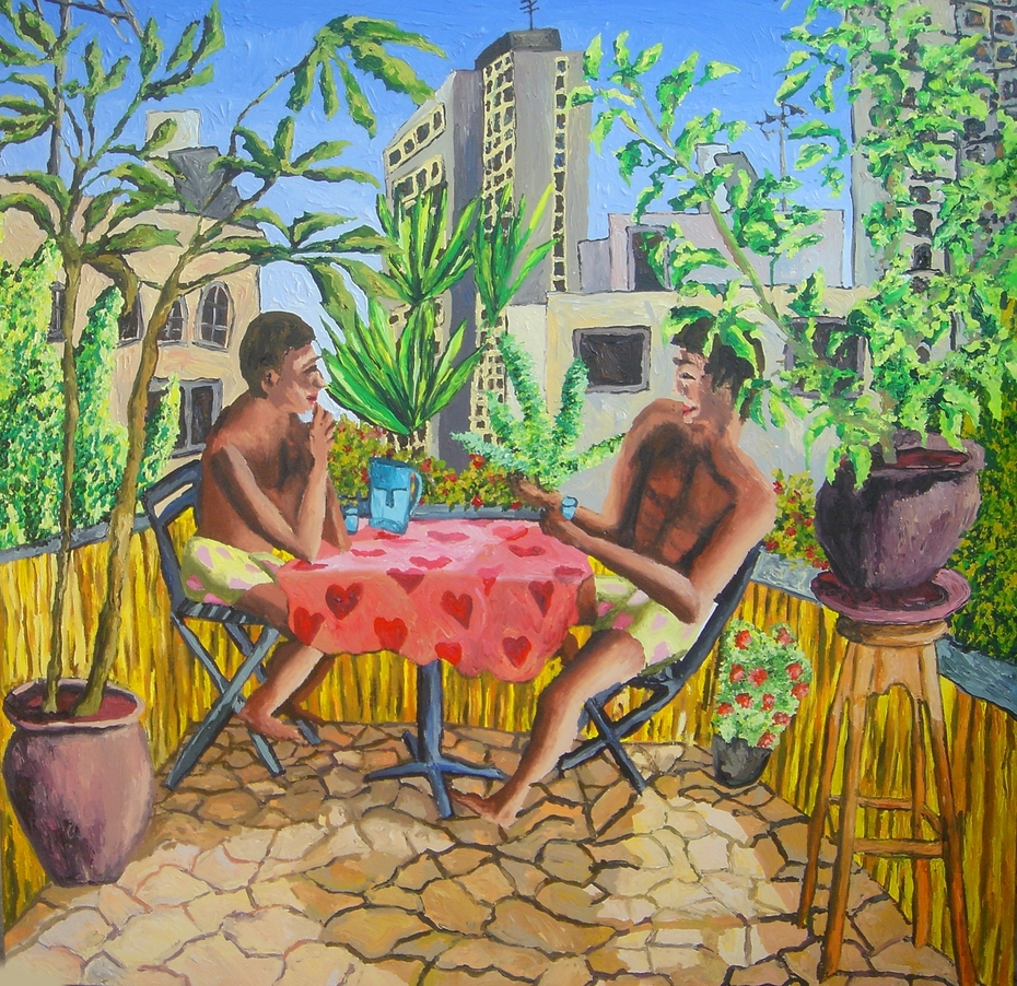 couple on the balcony two men love and relationship gay art homosexual paintings lgbt queer painting, artworks by israeli painter raphael perez