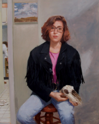"""""""Cowgirl in Glasses"""" by Lydia Martin (30""""x26"""") oil on Belgian linen"""