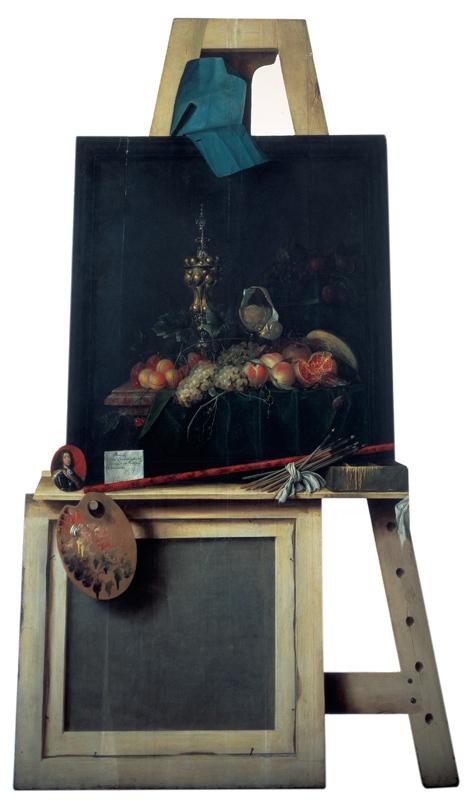 Cut-Out Trompe l'Oeil Easel with Fruit Piece