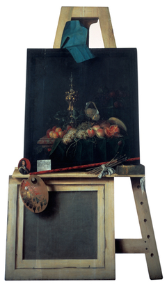 Cut-Out Trompe l'Oeil Easel with Fruit Piece