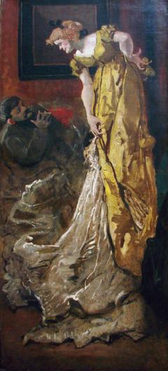 Dans l'atelier la pose du modèle (d'après l'Atelier d'Alfred Stevens)