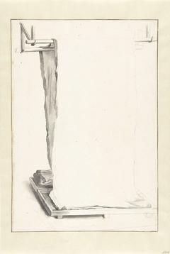 De lakenfabricage: een lap laken, hangend over twee stokken